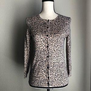 ANN TAYLOR LOFT Leopard Print Cardigan